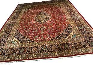 Persian mashad 1431 style rug wool pile vintage hand