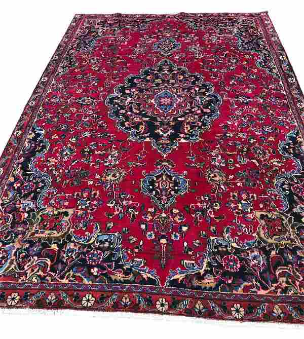 Persian mashad 129 style rug wool pile vintage hand