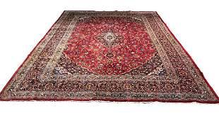 Persian mashad 1646 style rug wool pile vintage hand