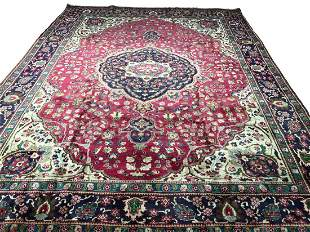 Persian tabriz 1039 style vitage wool rug pile hand