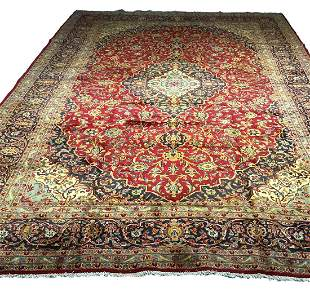 Persian kashan 1304a rug wool pile vintage hand knotted