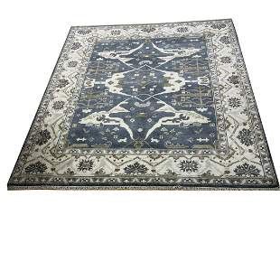 oushak d117 rug wool pile vintage hand knotted