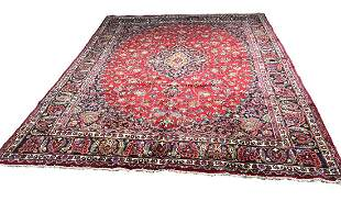 Persian kashan 219a rug wool pile vintage hand knotted
