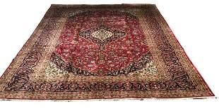 Persian kashan 9243 rug wool pile vintage hand knotted