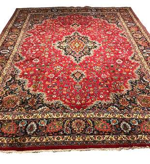 Persian mashad 1430 rug wool pile vintage hand knotted