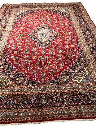 Persian kashan 1417 rug wool pile vintage hand knotted
