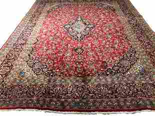 persian kashan 77a rug wool pile vintage hand knotted