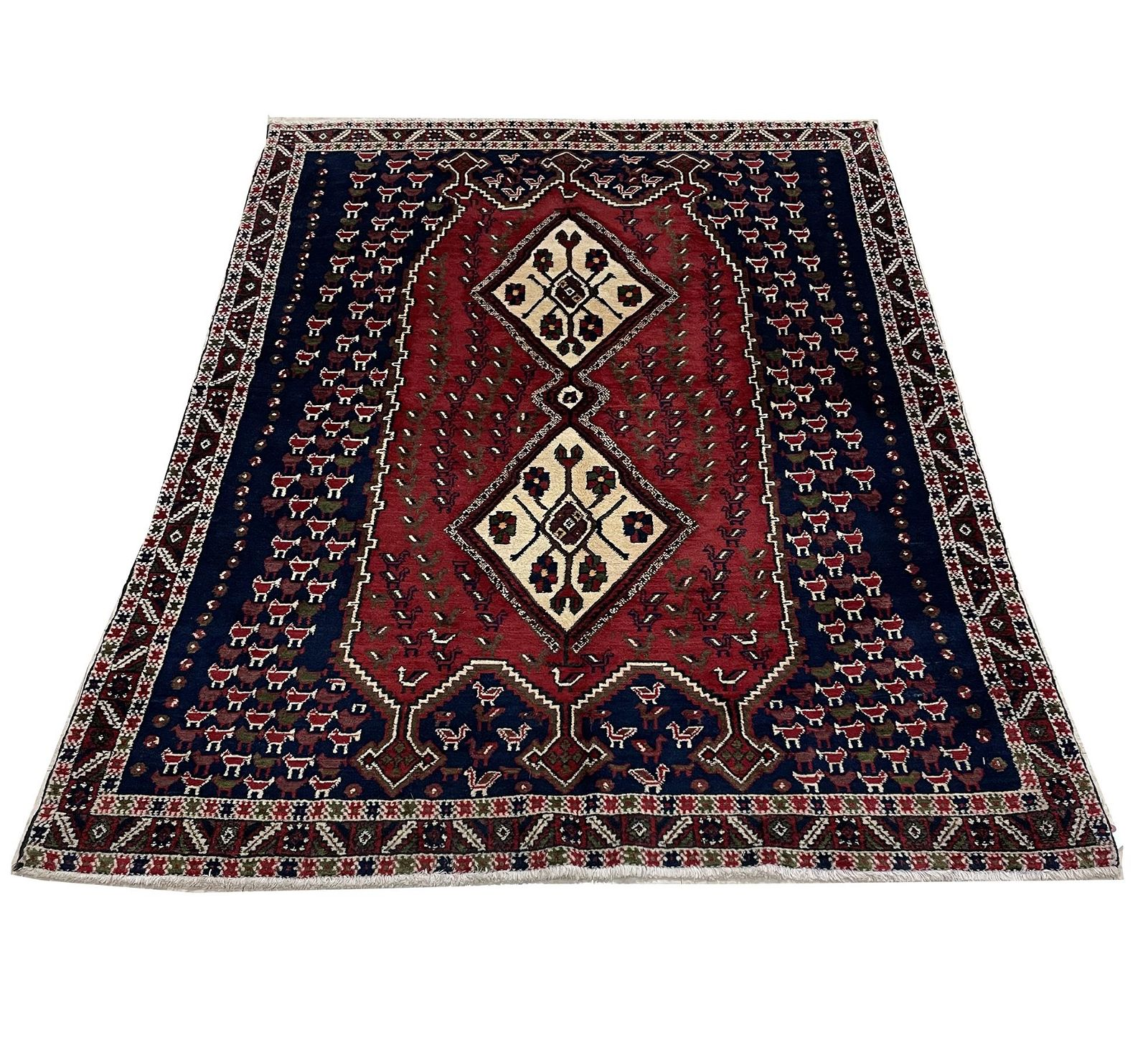 afshar 321-1530 style rug wool pile vintage hand