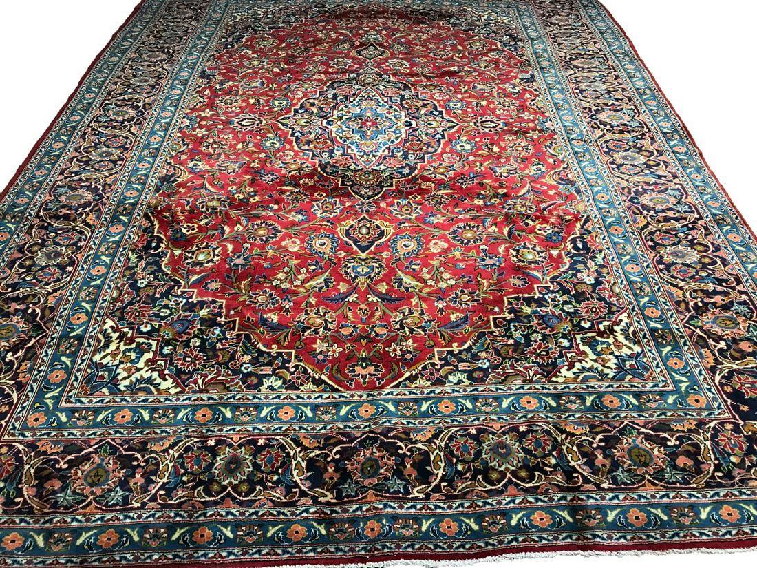 Persian kashan 1291 runner rug rug wool pile vintage