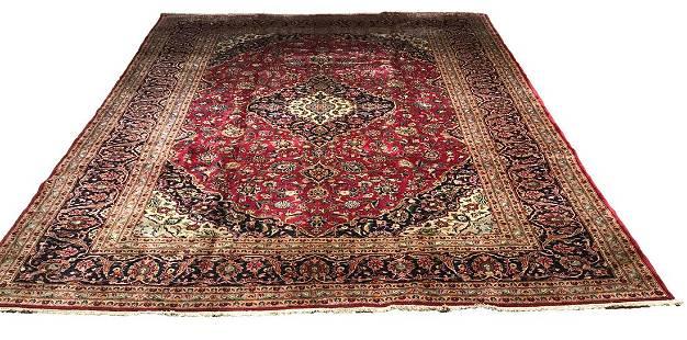 Persian kashan 9243 style rug wool pile vintage hand