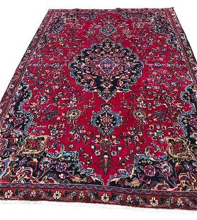 Persian mashad 129 rug wool pile vintage hand knotted