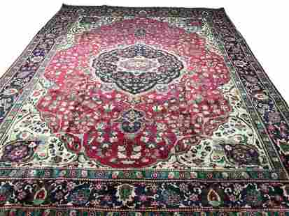 Persian tabriz 1039 rug wool pile vintage hand knotted