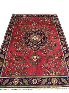 Persian tabriz 152 rug wool pile vintage hand knotted