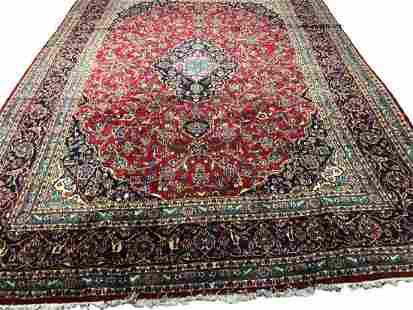 Persian kashan 1162 rug wool pile vintage hand knotted