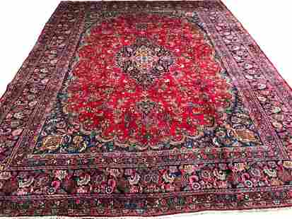 Persian saruq 1405 rug wool pile vintage hand knotted