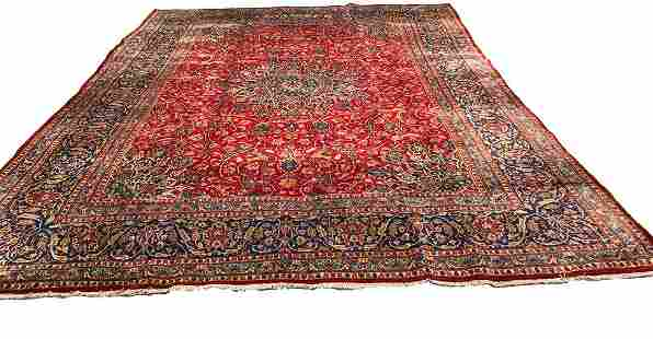 Persian isfahan 1390 rug wool pile vintage hand knotted