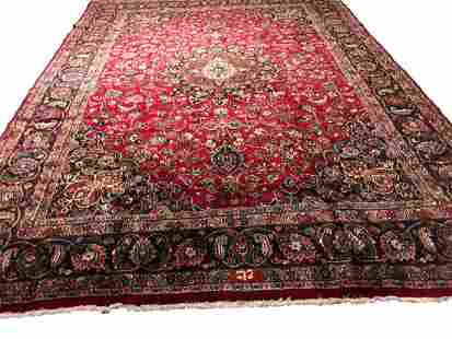 Persian mashad 1406rug wool pile vintage hand knotted