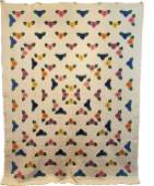 Vintage Quilt c1940s Pansy Medallion Quilt from WV