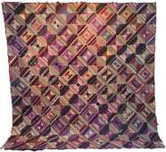 Antique Courthouse Steps Quilt in Silk c1880 NJ
