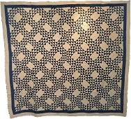 Antique Ocean Waves Quilt c1900 Indigo