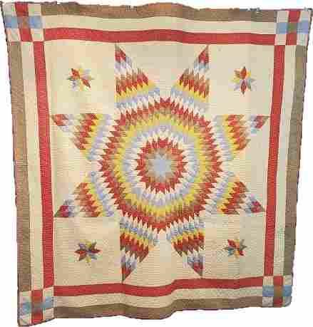 Antique Quilt c1900 Star of Bethlehem Satellite Stars