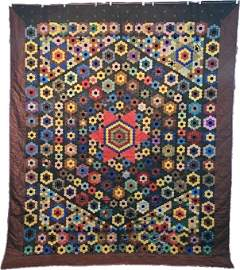 Antique Mosaic Quilt with Rosettes and Stars