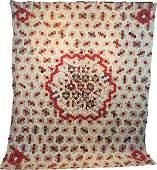 Antique c1850s English Medallion Hexagon Quilt Top