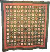 Antique Quilt c1870s 9 Patch On Point with Bars Back