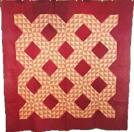 Antique Ocean Waves Quilt c1890s with Bars Back