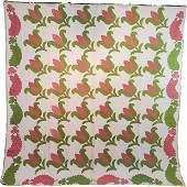 c1850 Antique Quilt Red and Green Tulip Leaf Border