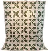 c1870s Quilt Top Oak Leaf and Reel Green