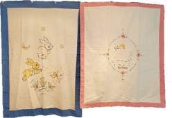 2 Vintage c1940s Hand Embroidered Quilt Tops or Spreads
