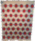 Antique Quilt Top c1910 Patriotic Red White Blue Stars