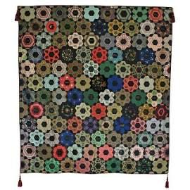 Antique 1856 Silk Hexagon Garden Signature Quilt KY