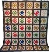 Antique c1830 Chintz Quilt with Woven Tape Edge
