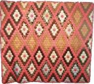 Antique Hexagon Quilt Field of Diamonds c1880