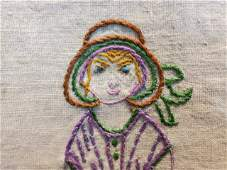 Hand Embroidered Vintage c1930s Quilt Top