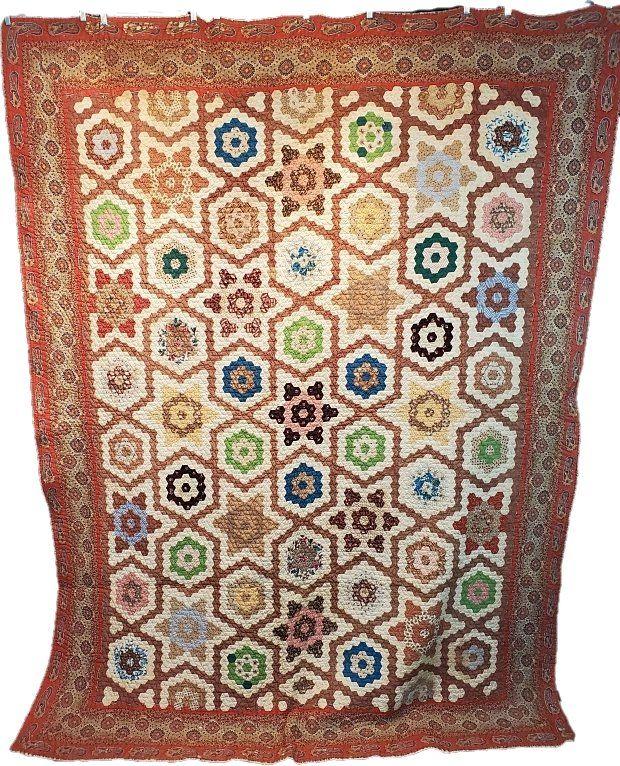 Antique c1880s Hexagon Star Quilt