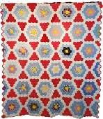 Patriotic Hexagon Stars Post WW2 Vintage Quilt