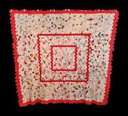 Antique English Red Frame Medallion Hexagon Quilt Top