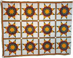Antique Star Quilt in Cheddar and Teal