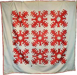 Antique Red White Scherenschnitte Coverlet Quilt