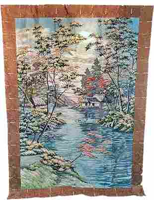 Antique Embroidered Scenic Chinese Tapestry