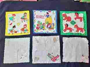 6 Vintage Childrens Handkerchiefs