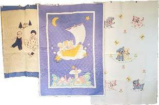3 Vintage Childrens Kit Quilts - Nursery Ryhmes
