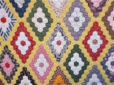 Antique Hexagon Diamond Quilt with Yellow Path