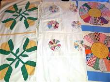 3 Vintage Quilt Tops - Dresden Plate and Tulips