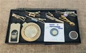 Interesting Collection of Gentlemens money clips, tie