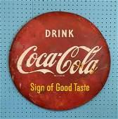 Antique 1940s - 50s Original Coke Button Enamel Sign