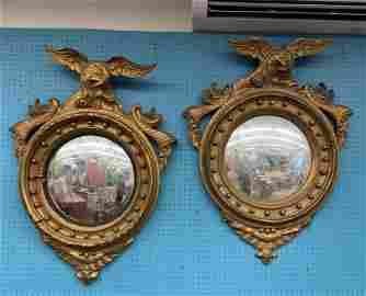 Pair of Antique Federal Spread Eagles, Cornucopia,